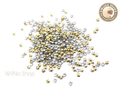 3mm Gold Star Metal Studs Nail Art - 100 pcs