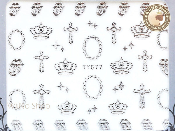 Silver Crown Cross Adhesive Nail Sticker Nail Art - 1 pc (TY077S)