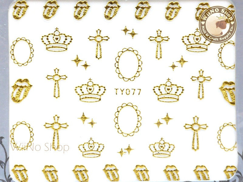 Gold Crown Cross Adhesive Nail Sticker Nail Art - 1 pc (TY077G)