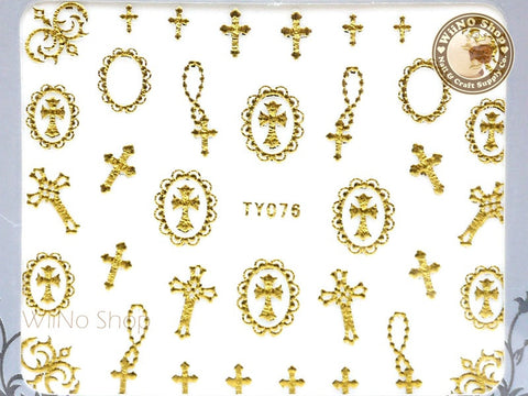 Gold Cross Frame Adhesive Nail Sticker - 1 pc (TY076G)