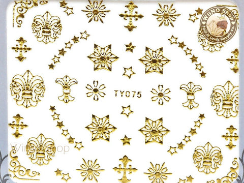 Gold Star Fleur De Lis Adhesive Nail Sticker Nail Art - 1 pc (TY075G)