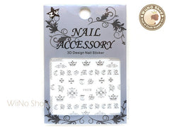 Silver Chrome Hearts Style Cross Adhesive Nail Sticker Nail Art - 1 pc (TY073S)