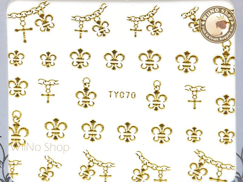 Chrome Hearts Style Fleur De Lis Gold Adhesive Nail Sticker Nail Art - 1 pc (TY070G)