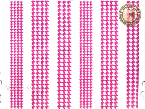 Houndstooth Pattern Hot Pink Adhesive Nail Sticker Nail Art - 1 pc