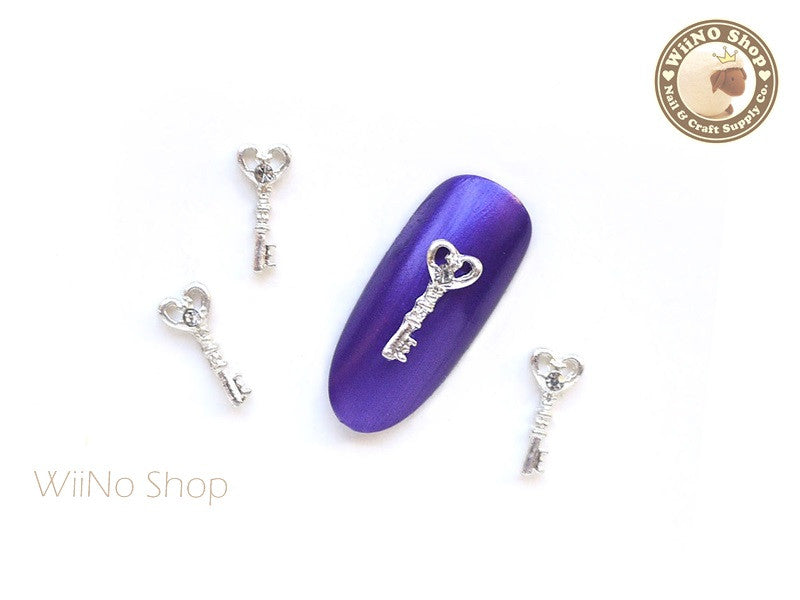 Silver Heart Key with Crystal Nail Metal Charm - 2 pcs