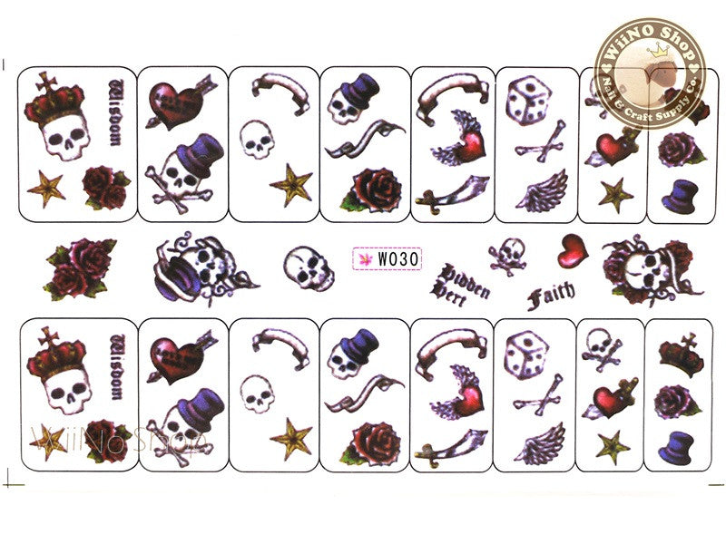 Skull Water Slide Nail Art Decals - 1pc (W030)