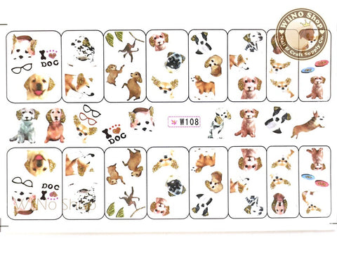 Dog Puppy Glitter Water Slide Nail Art Decals - 1pc (W108)