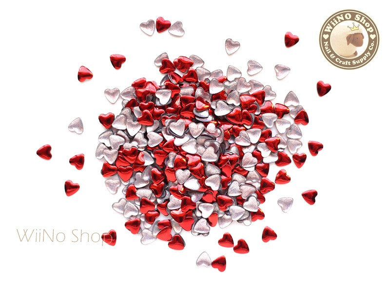 4mm Red Heart Metal Studs - 100 pcs