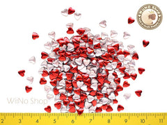 4mm Red Heart Metal Studs Nail Art - 100 pcs