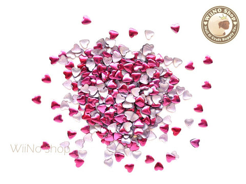 4mm Hot Pink Heart Metal Studs - 100 pcs