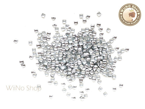 2mm Silver Square Metal Studs - 100 pcs