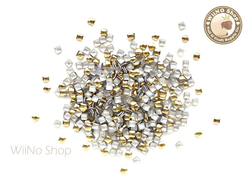 2mm Gold Square Metal Studs - 100 pcs