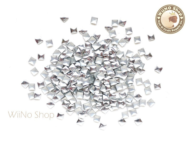 3mm Silver Square Metal Studs - 100 pcs