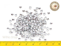 3mm Silver Square Metal Studs Nail Art - 100 pcs