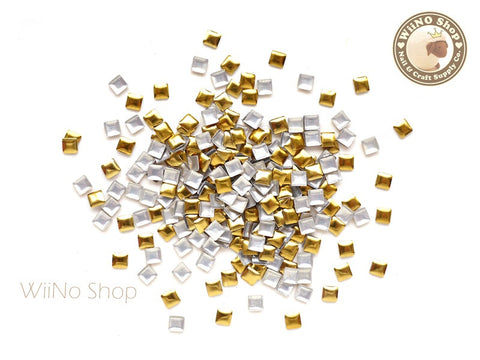 3mm Gold Square Metal Studs - 100 pcs