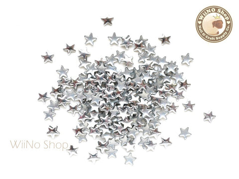 5mm Silver Star Metal Studs - 100 pcs