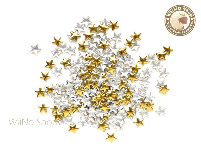 5mm Gold Star Metal Studs - 100 pcs