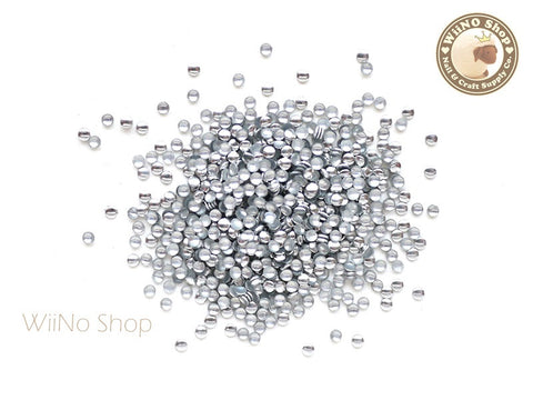 1.5mm Silver Round Metal Studs - 100 pcs