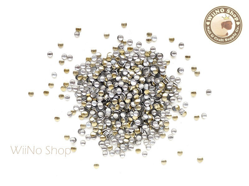 1.5mm Gold Round Metal Studs - 100 pcs