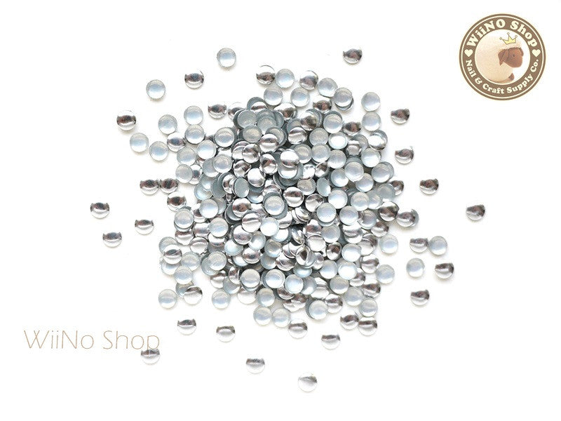 3mm Silver Round Metal Studs - 100 pcs