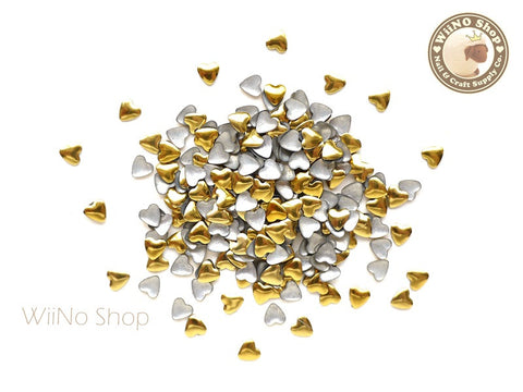 4mm Gold Heart Metal Studs - 100 pcs