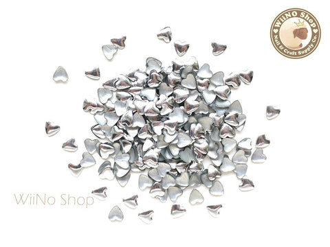 4mm Silver Heart Metal Studs - 100 pcs