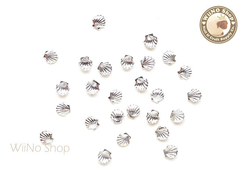 3.5mm Silver Sea Shell Metal Studs - 10 pcs