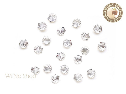 5mm Silver Sea Shell Metal Studs - 10 pcs