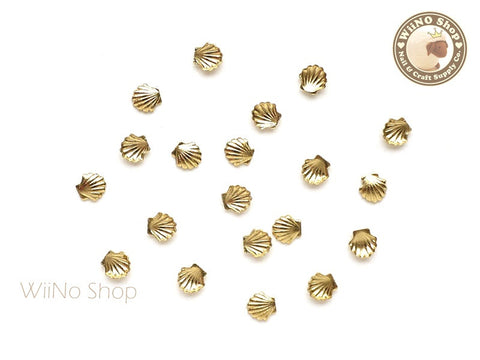 3.5mm Gold Sea Shell Metal Studs - 10 pcs