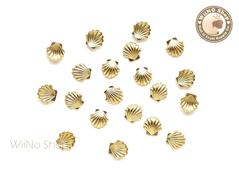 5mm Gold Sea Shell Metal Studs - 10 pcs