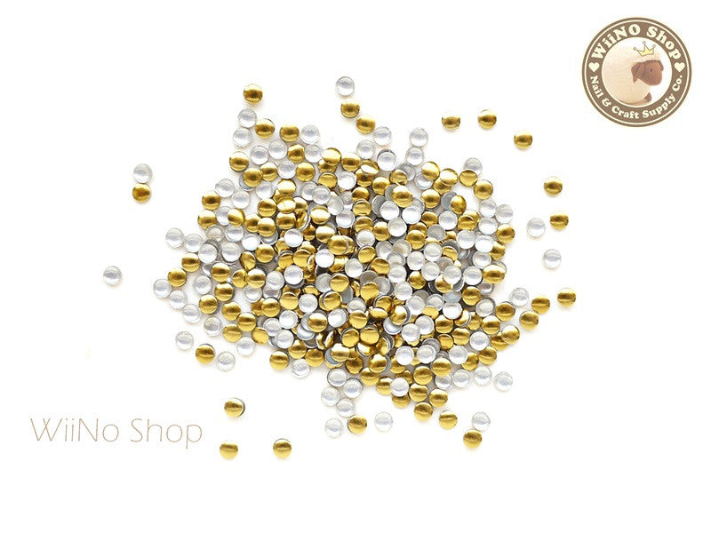 2mm Gold Round Metal Studs - 100 pcs