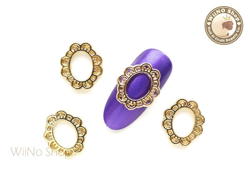 Oval Lace Frame Gold Nail Metal Charm - 2 pcs