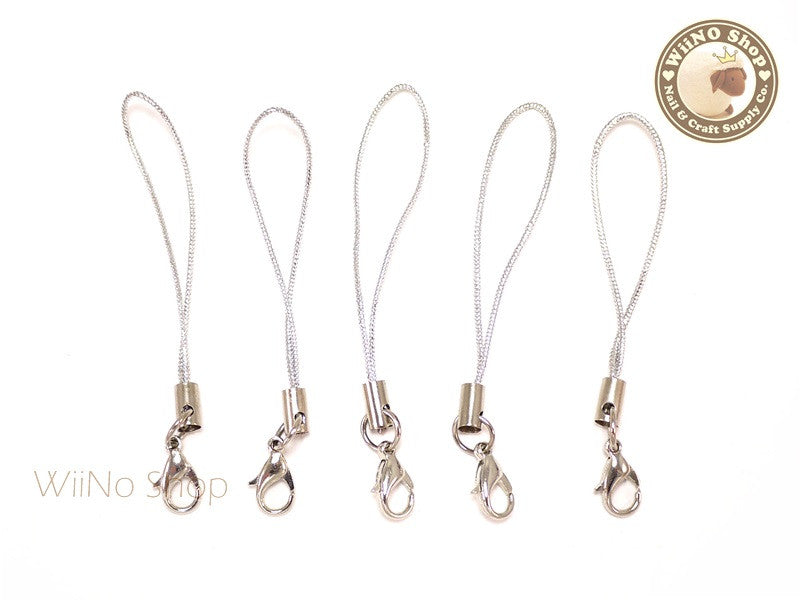 Silver Strap Cell Phone Strap with Silver Lobster Clasp - 5 pcs