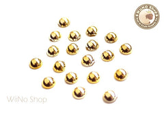 5mm Half Round Gold Chrome Flat Back Acrylic Cabochon Nail Art - 15 pcs