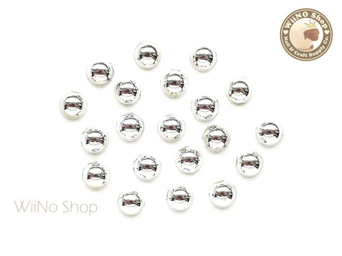 5mm Half Round Silver Chrome Flat Back Acrylic Cabochon Nail Art - 15 pcs