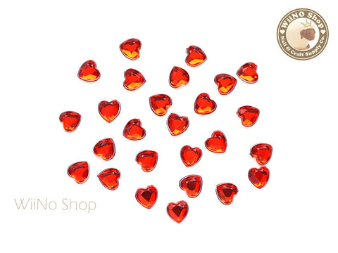 5mm Red Light Siam Heart Flat Back Acrylic Rhinestone - 20 pcs