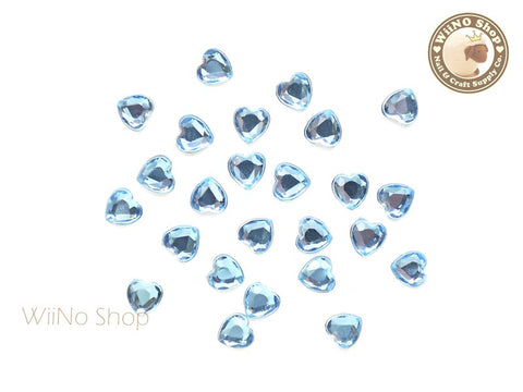 5mm Light Sapphire Blue Heart Flat Back Acrylic Rhinestone - 20 pcs