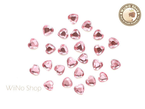 5mm Pink Light Rose Heart Flat Back Acrylic Rhinestone - 20 pcs