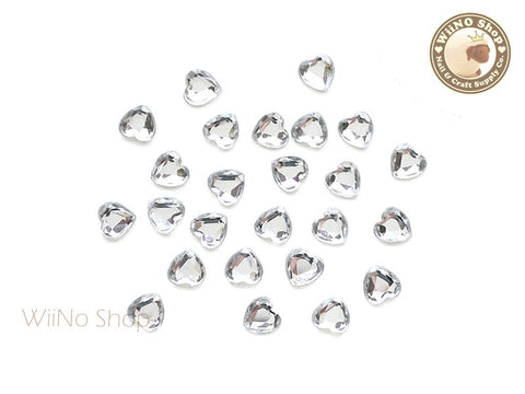 5mm Clear Heart Flat Back Acrylic Rhinestone - 20 pcs