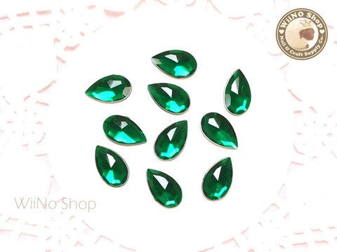 12 x 7mm Dark Green Drop Flat Back Acrylic Rhinestone - 15 pcs