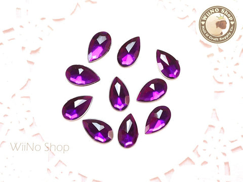 12 x 7mm Purple Violet Drop Flat Back Acrylic Rhinestone - 15 pcs