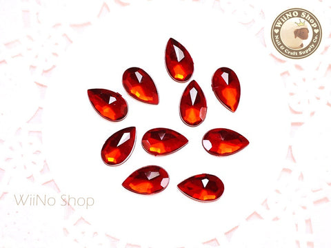 12 x 7mm Red Siam Drop Flat Back Acrylic Rhinestone - 15 pcs
