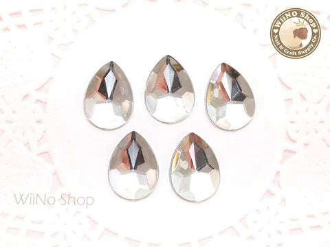 18 x 13mm Clear Pear Drop Flat Back Acrylic Rhinestone - 5 pcs