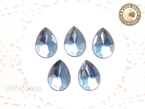 18 x 13mm Light Sapphire Blue Pear Drop Flat Back Acrylic Rhinestone - 5 pcs