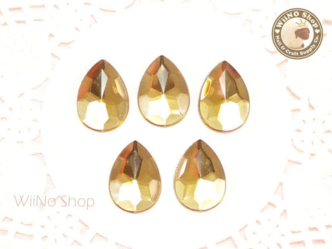 18 x 13mm Light Champagne Pear Drop Flat Back Acrylic Rhinestone - 5 pcs