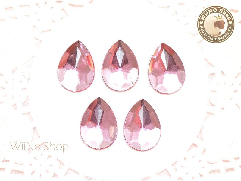 18 x 13mm Pink Light Rose Pear Drop Flat Back Acrylic Rhinestone - 5 pcs