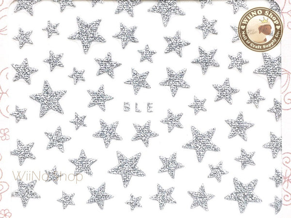 Glitter Star Silver Adhesive Nail Sticker Nail Art - 1 pc (BLE-S)
