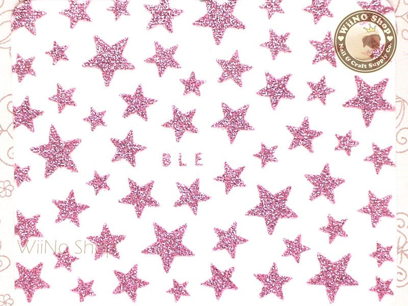 Glitter Star Pink Adhesive Nail Sticker Nail Art - 1 pc (BLE-P)
