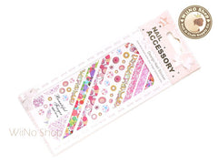 Retro Pink Circle Pop Style Pattern Water Slide Nail Art Decals - 1 pc (HOT-011)