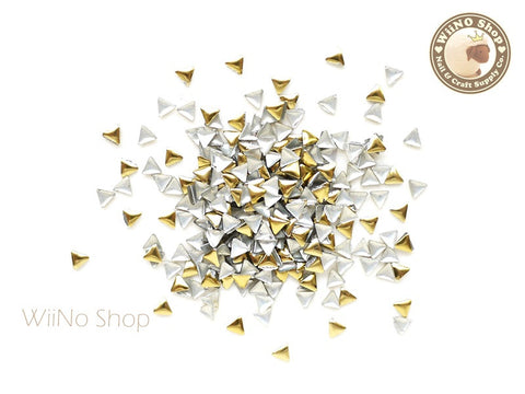 3mm Gold Triangle Metal Studs - 100 pcs